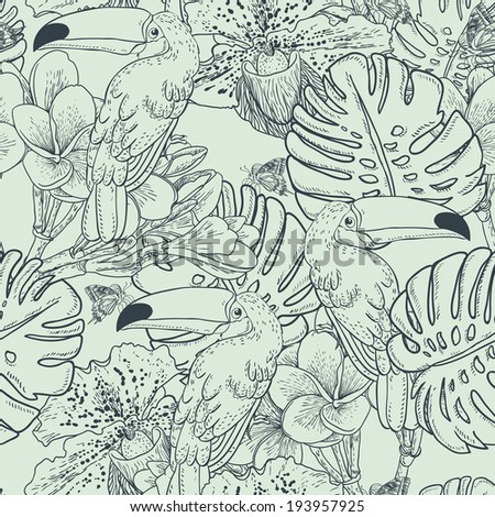 Tropical seamless monochrome background with exotic flowers and Toucan