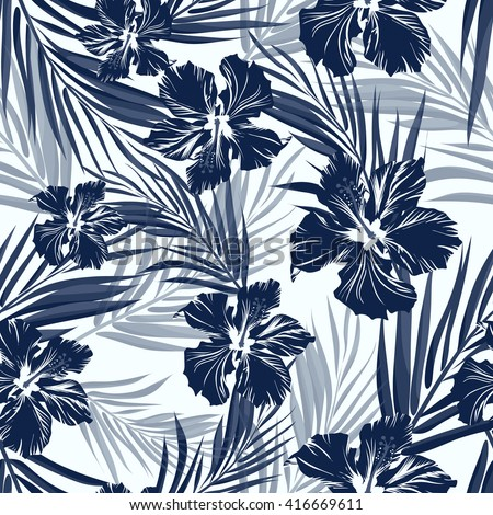 Tropical seamless monochrome blue indigo camouflage background with leaves and flowers - stock vector