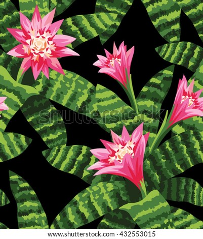 Tropical seamless pattern with blooming aechmea. Vector illustration.