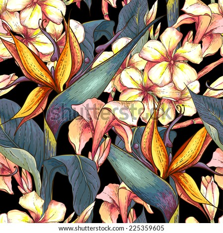 Tropical seamless pattern with exotic flowers. Bird of Paradise Background  - stock vector