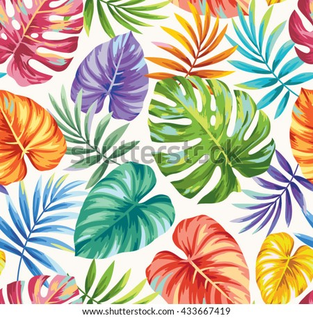Tropical seamless pattern with exotic palm leaves. Vector illustration. - stock vector