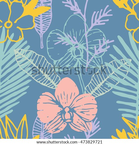 Tropical seamless pattern with frangipani, palm leaves, orchid flower.  Floral colorful background. Vector illustration.
