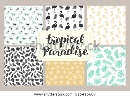 Tropical seamless patterns collection set hawaiian stock vector tropical seamless patterns collection set of hawaiian plants palm leaves flamingo pineapples stopboris Gallery