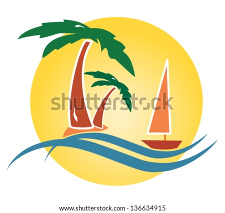 Tropical seascape with palm trees, sailboat and sun. Vector illustration. - stock vector