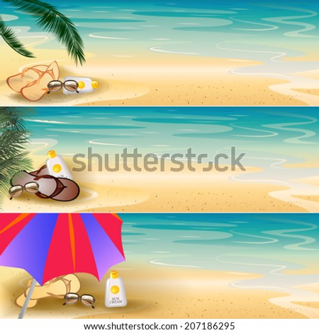 Tropical seashore banner set for your text - stock vector