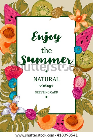 Tropical Summer Exotic Menu Fruits Card with Watermelon, Apricot, Kiwi, Vanilla and Berries, Vector Nature Vintage Invitation - stock vector