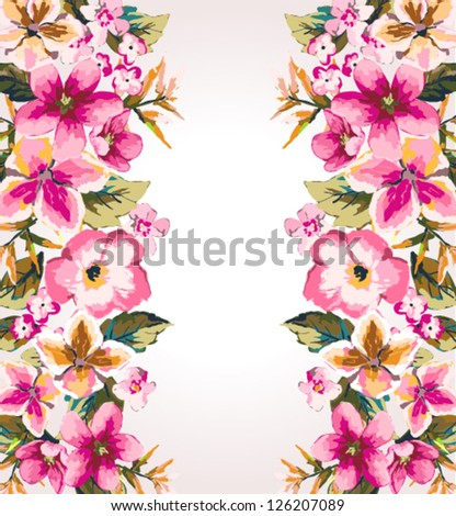 tropical summer flower,mirror effect vector pattern background - stock vector