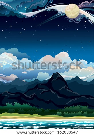 Tropical summer night landscape with mountain and sea on a cloudy sky. Nature vector.