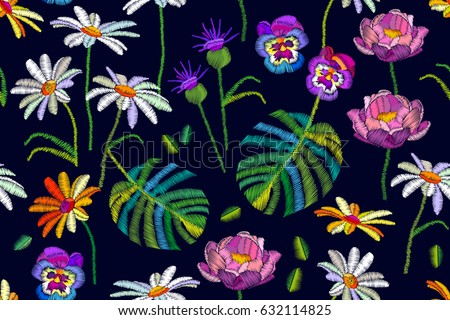 Tropical summer. Seamless vector pattern with chamomiles, peonies, daisies and palm leaves. Vintage motifs.