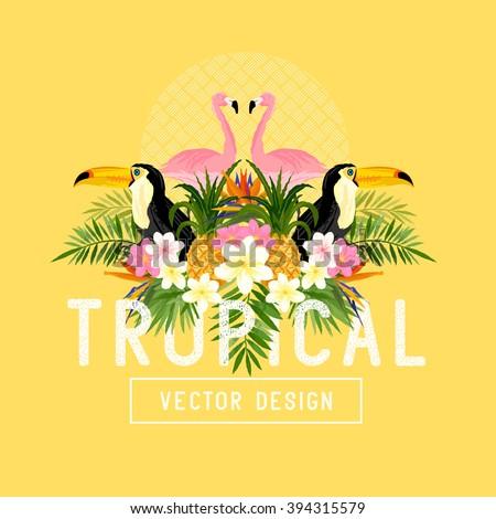 Tropical Summer themed Vector.  - stock vector