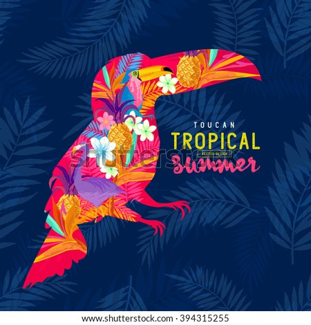 Tropical Summer Toucan. Abstract Toucan bird with various tropical elements. - stock vector