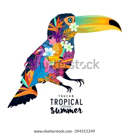 Tropical Summer Toucan. Vector - stock vector