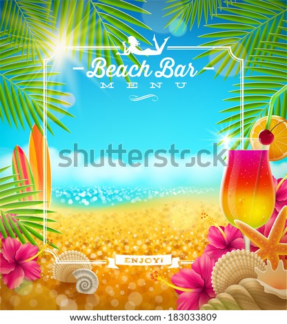 Tropical summer vacation - Beach bar menu vector design - stock vector