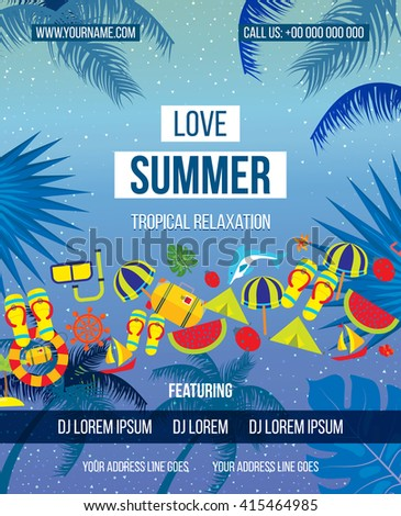 Tropical Summer vector background. Love Summer Beach Party Flyer. Hand lettering typography poster. Summer holiday flat icons set. - stock vector