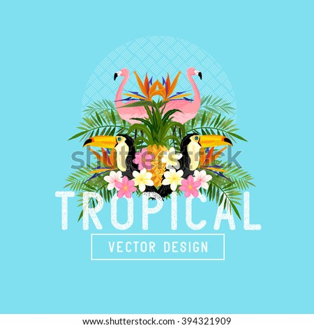 Tropical Summer Vector. Tropic elements including, Palms, Toucans, Bird of paradise flowers and pineapples - stock vector