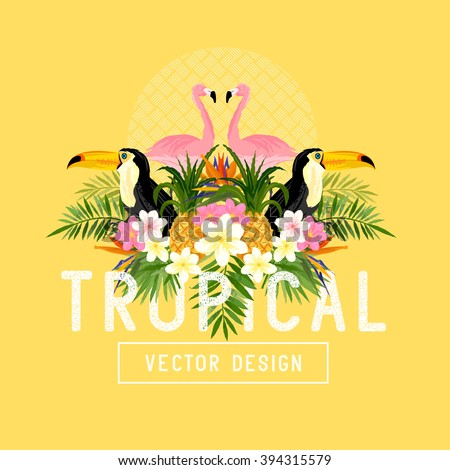 Tropical Summer Vector. Tropic elements including Pelicans, Palms, Toucans, Bird of paradise flowers and pineapples - stock vector