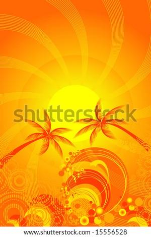 tropical sun and ocean vector - stock vector