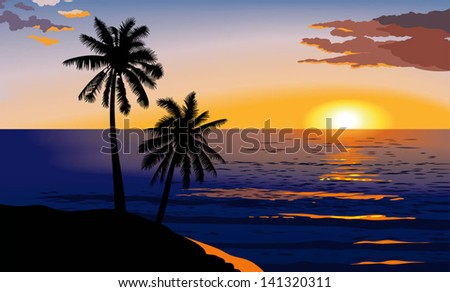 Tropical sunset at sea, palm trees and red clouds, vector illustration - stock vector