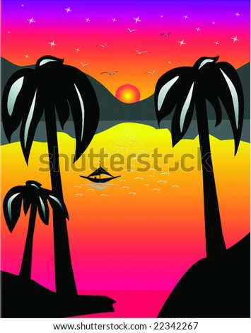 Tropical sunset,beach and oasis with palm trees. - stock vector