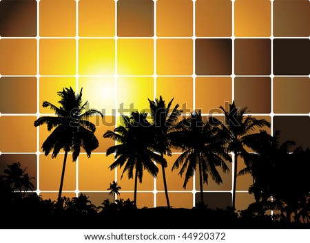 Tropical sunset, mosaic background for your design - stock vector