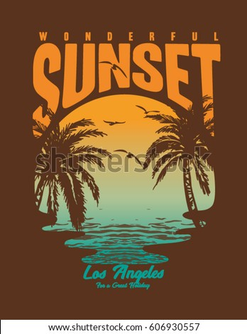 Surf And Beach Vintage Print Tee Graphic Design