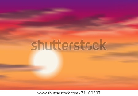 Tropical sunset, vector, eps10 - stock vector