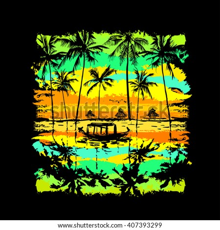 tropical sunset with reflected palms in the water and fishing boat - stock vector