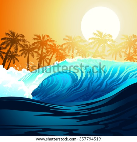 Tropical surfing wave at sunrise with palm trees . - stock vector