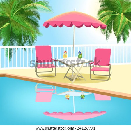 tropical swimming pool - stock vector
