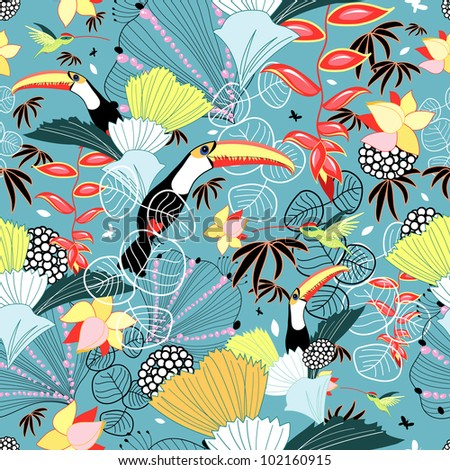 Tropical texture with toucans and hummingbirds - stock vector