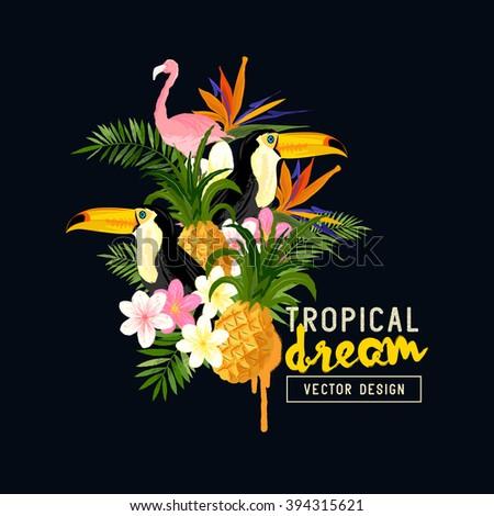 Tropical themed vector Design.  - stock vector