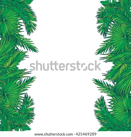 Tropical thicket. Palm tree leaves frame. Summer design template. Decorative symmetrical border. EPS10 vector illustration.