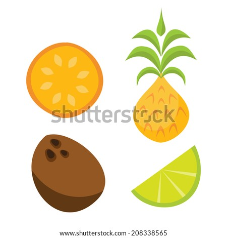 Tropical tiki style fruit cartoons including and orange slice, pineapple, coconut and lime wedge - stock vector