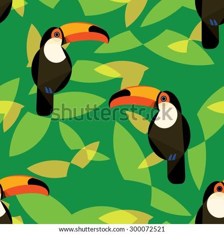 Tropical toucan vector in lush in green foliage. Seamless design.  - stock vector