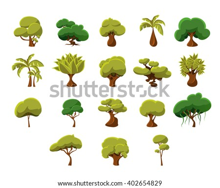 Tropical Trees Video Game Flat Vector Design Icons Set Of Isolated Items on White Background - stock vector