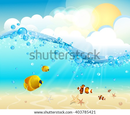 Tropical underwater view with colorful fish - stock vector