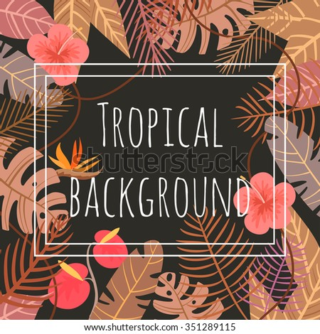 tropical vector background with flower and palm leaves - stock vector