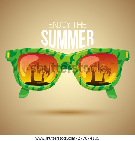 Tropical view in sunglasses.  Summer vacation background design.  - stock vector