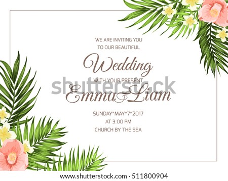 Tropical wedding party invitation card template stock vector tropical wedding party invitation card template exotic bright plumeria and camellia flowers with jungle palm stopboris Choice Image