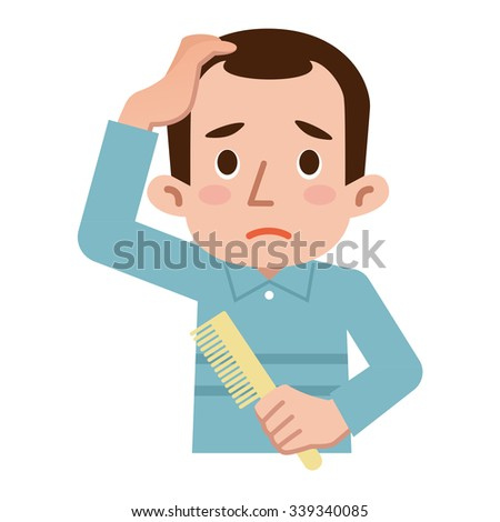 Trouble of thinning hair - stock vector