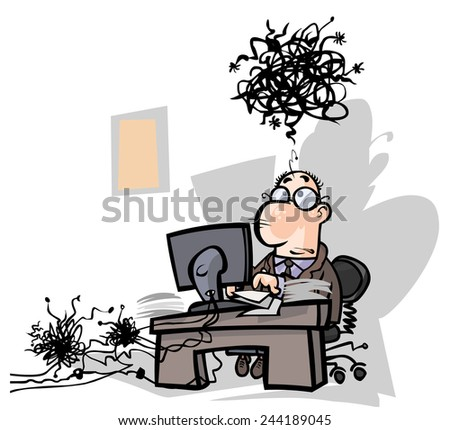 Troubles in the office. All in separate layers for easy editing. - stock vector