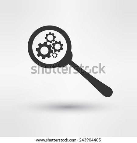 Troubleshooting Symbol Magnifying Glass and Gears Icon Design Template Vector Illustration - stock vector