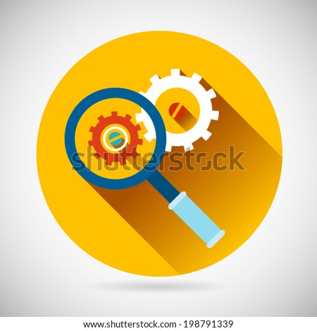 Troubleshooting Symbol Magnifying Glass and Gears Icon on Stylish Background Modern Flat Design Vector Illustration - stock vector