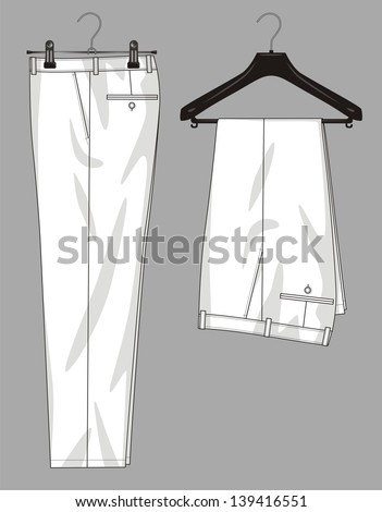 Trousers for the man hang on a hanger - stock vector