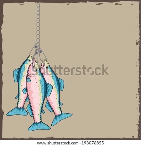 Trout on a stringer with a torn paper background, vector format - stock vector