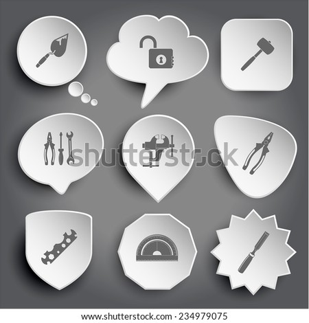 trowel, opened lock, mallet, tools, clamp, pliers, cycle spanner, protractor, chisel. White vector buttons on gray. - stock vector