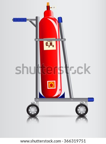 Truck and a gas cylinder / Trooley for transport of dangerous goods - stock vector