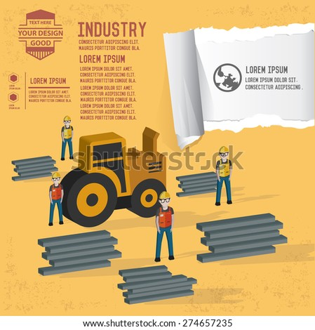 Truck and steel design on yellow background,clean vector - stock vector