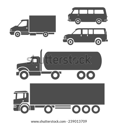 Truck auto delivery transport vehicles decorative icons set isolated vector illustration - stock vector