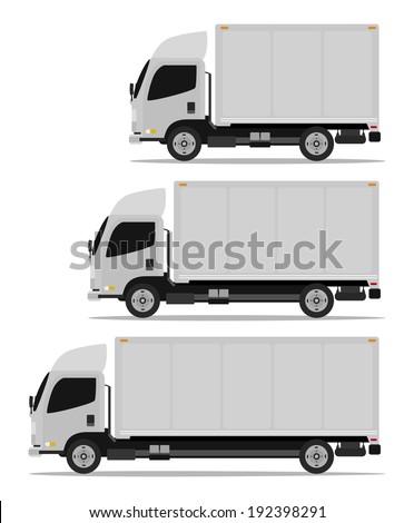 truck cargo set three models - stock vector